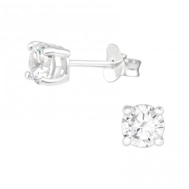 Round 5mm - 925 Sterling Silver Ear Studs with Zirconia stones A4S41139