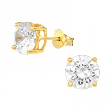 Golden Round 7.5Mm - 925 Sterling Silver Ear Studs With Zirconia Stones A4S41140