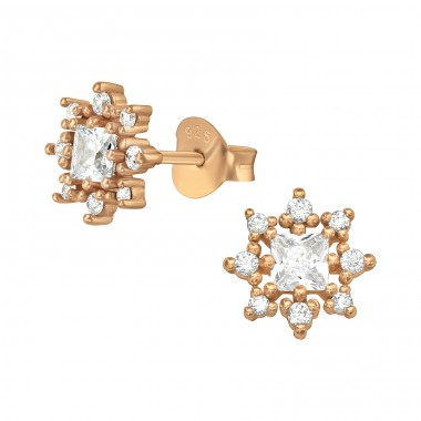 Rosegold Flower Cluster - 925 Sterling Silver Ear Studs With Zirconia Stones A4S41141