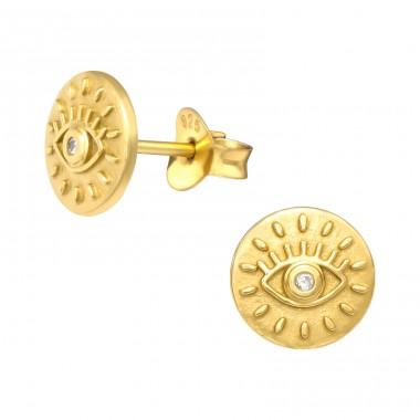 Golden Evil Eye - 925 Sterling Silver Ear Studs With Zirconia Stones A4S41144