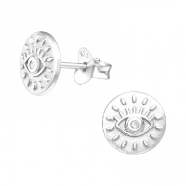 Evil Eye - 925 Sterling Silver Ear Studs with Zirconia stones A4S41145