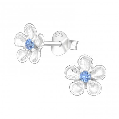 Flower - 925 Sterling Silver Ear Studs with Zirconia stones A4S41148