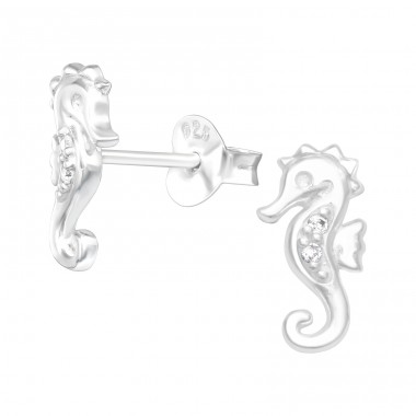 Seahores with zirconias - 925 Sterling Silver Ear Studs With Zirconia Stones A4S41359