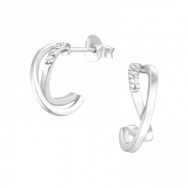 Half Hoop - 925 Sterling Silver Ear Studs with Zirconia stones A4S41636