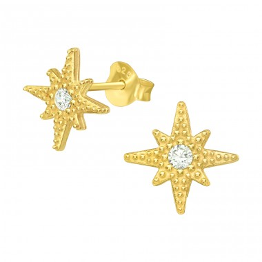 Golden Northern Star - 925 Sterling Silver Ear Studs With Zirconia Stones A4S42068