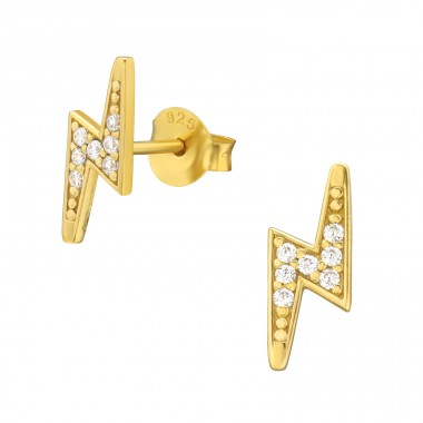 Golden Lightning Bolt - 925 Sterling Silver Ear Studs With Zirconia Stones A4S42141