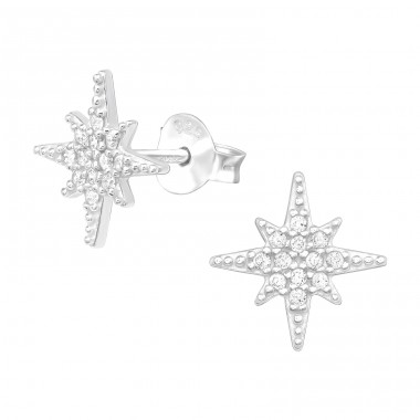Northern Star - 925 Sterling Silver Ear Studs with Zirconia stones A4S42269