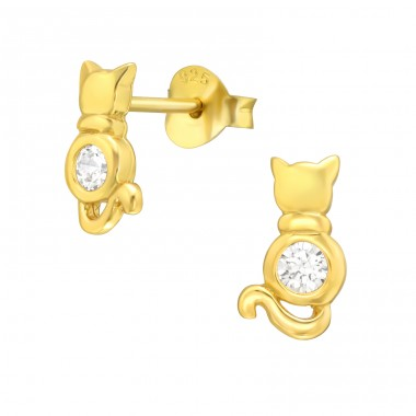 Golden Cat with Zirconia - 925 Sterling Silver Ear Studs With Zirconia Stones A4S42532