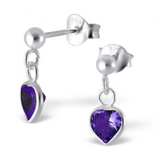 Heart - 925 Sterling Silver Ear Studs with Zirconia stones A4S4656