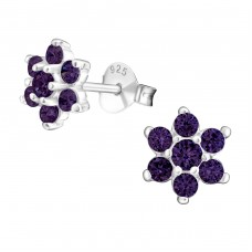 Flower - 925 Sterling Silver Ear Studs with Zirconia stones A4S7876