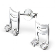 Music - 925 Sterling Silver Ear Studs With Zirconia Stones A4S895