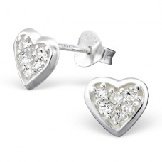Heart - 925 Sterling Silver Ear Studs with Zirconia stones A4S896