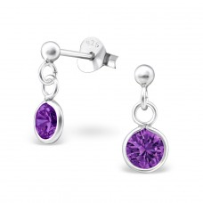 Round - 925 Sterling Silver Ear Studs with Zirconia stones A4S9466