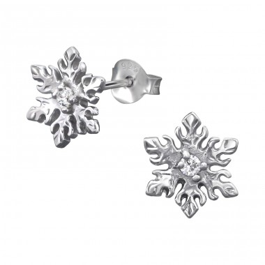 Snowflake - 925 Sterling Silver Ear Studs with Zirconia stones A4S9794