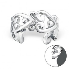 Heart - 925 Sterling Silver Ear Cuffs and Ear pins A4S22170
