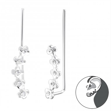 Flower - 925 Sterling Silver Ear Cuffs and Ear pins A4S24350