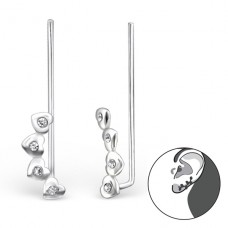 Heart - 925 Sterling Silver Ear Cuffs and Ear pins A4S24351