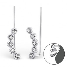 Round - 925 Sterling Silver Ear Cuffs and Ear pins A4S24352