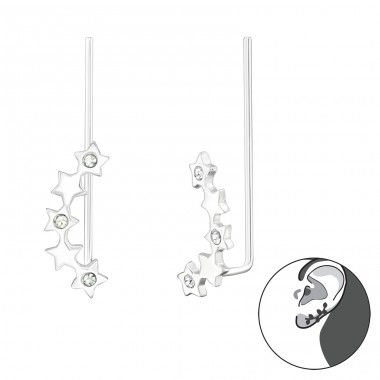 Star - 925 Sterling Silver Ear Cuffs and Ear pins A4S24353