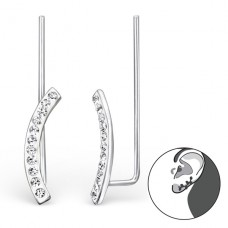 Curved - 925 Sterling Silver Ear Cuffs and Ear pins A4S24354