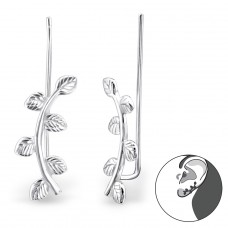 Leaf - 925 Sterling Silver Ear Cuffs and Ear pins A4S24356