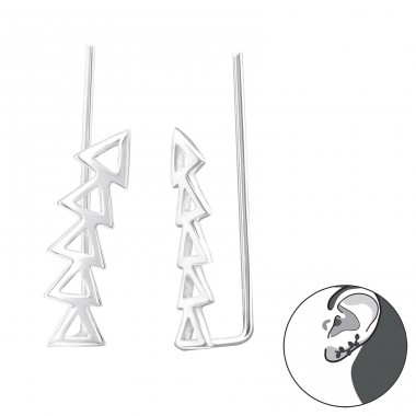 Triangle - 925 Sterling Silver Ear Cuffs and Ear pins A4S24357