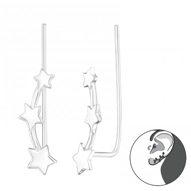 Star - 925 Sterling Silver Ear Cuffs and Ear pins A4S24359
