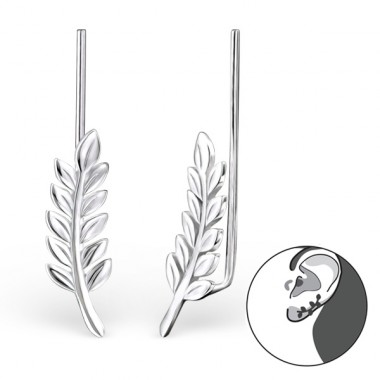 Leaf - 925 Sterling Silver Ear Cuffs and Ear pins A4S24360