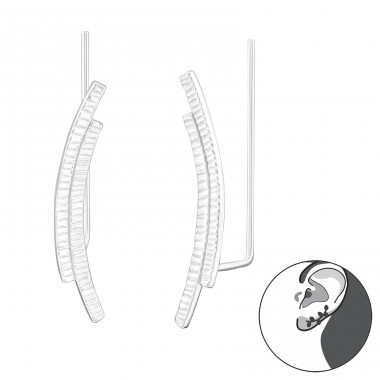 Curved - 925 Sterling Silver Ear Cuffs and Ear pins A4S24363