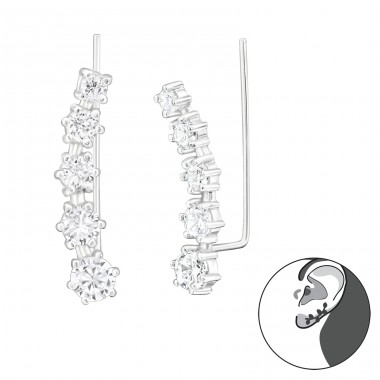 Round - 925 Sterling Silver Ear Cuffs and Ear pins A4S24364