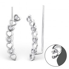 Heart - 925 Sterling Silver Ear Cuffs and Ear pins A4S24366