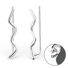 Wave - 925 Sterling Silver Ear Cuffs and Ear pins A4S24367
