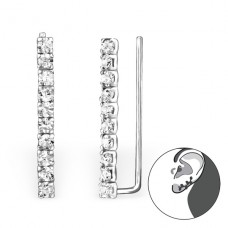 Long - 925 Sterling Silver Ear Cuffs and Ear pins A4S24562