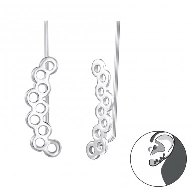 Circles - 925 Sterling Silver Ear Cuffs and Ear pins A4S24570
