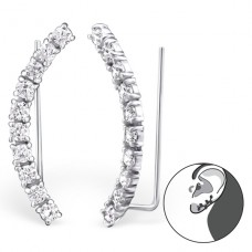 Curved - 925 Sterling Silver Ear Cuffs and Ear pins A4S24571