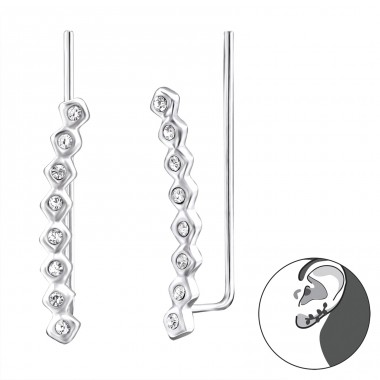 Round - 925 Sterling Silver Ear Cuffs and Ear pins A4S24573