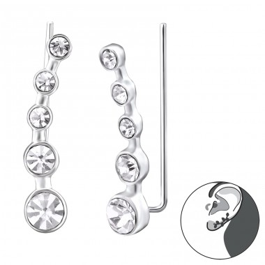 Round - 925 Sterling Silver Ear Cuffs and Ear pins A4S24574