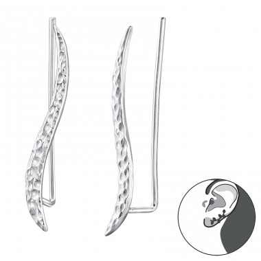 Wave - 925 Sterling Silver Ear Cuffs and Ear pins A4S24749