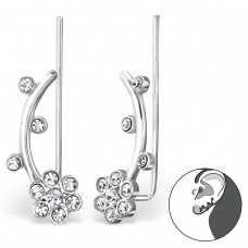 Flower - 925 Sterling Silver Ear Cuffs and Ear pins A4S24750