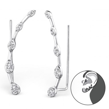 Teardrop - 925 Sterling Silver Ear Cuffs and Ear pins A4S24751