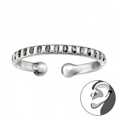 Patterned - 925 Sterling Silver Ear Cuffs and Ear pins A4S28189