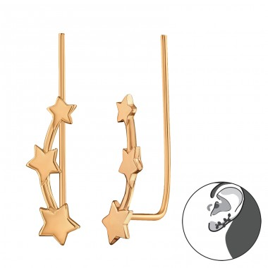 Stars - 925 Sterling Silver Ear Cuffs and Ear pins A4S28629