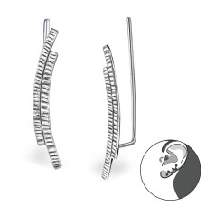 Curved - 925 Sterling Silver Ear Cuffs and Ear pins A4S28633