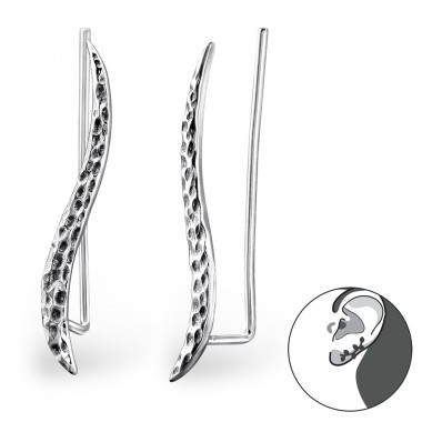 Wave - 925 Sterling Silver Ear Cuffs and Ear pins A4S28723