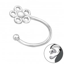 Flower - 925 Sterling Silver Ear Cuffs and Ear pins A4S29190