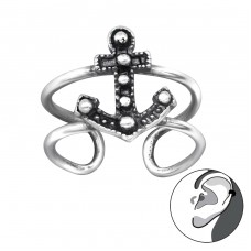 Anchor - 925 Sterling Silver Ear Cuffs and Ear pins A4S29194