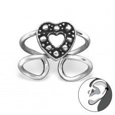 Heart - 925 Sterling Silver Ear Cuffs and Ear pins A4S29195