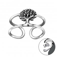 Tree - 925 Sterling Silver Ear Cuffs and Ear pins A4S29198