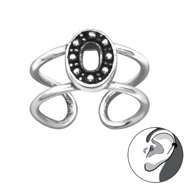 Oval - 925 Sterling Silver Ear Cuffs and Ear pins A4S29200