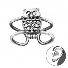 Owl - 925 Sterling Silver Ear Cuffs and Ear pins A4S29202
